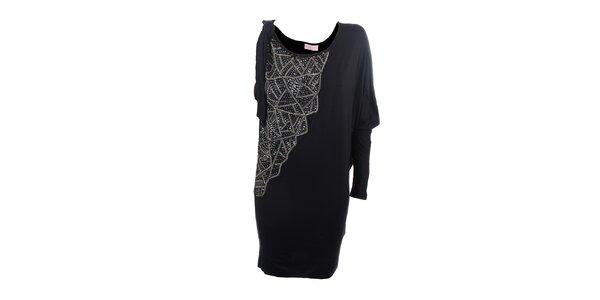 Dámske čierne elegantné šaty s flitrami Phard