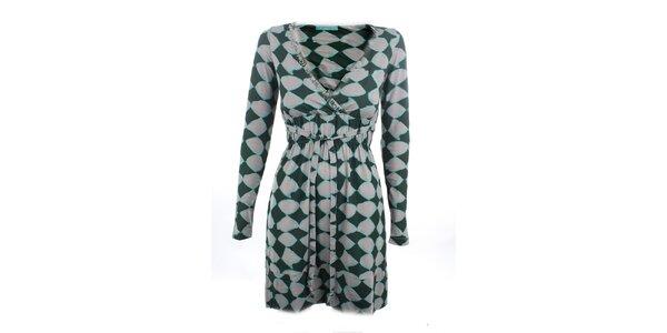 Dámske zeleno-šedé šaty s potlačou Phard