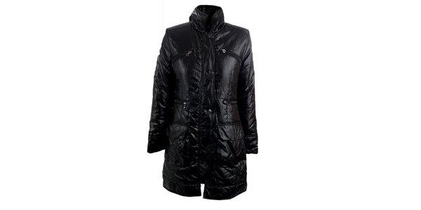 Dámsky čierny kabát s límčekom Quo Vadis
