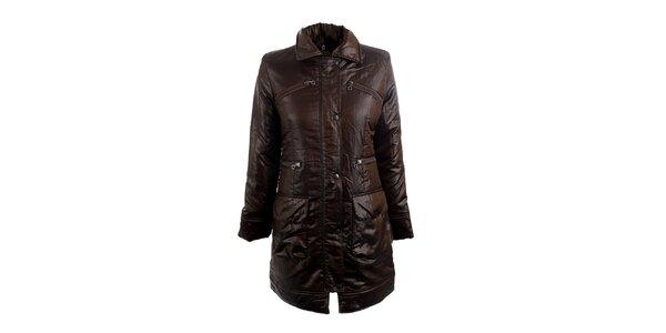 Dámsky hnedý kabát s límčekom Quo Vadis