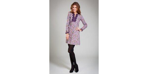 Dámske fialové šaty Pepita Pérez s potlačou