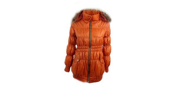 Dámska oranžová bunda Mezzo s kapucňou