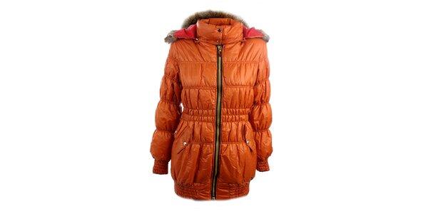Dámska oranžová bunda Mezzo s červeno podšitou kapucňou