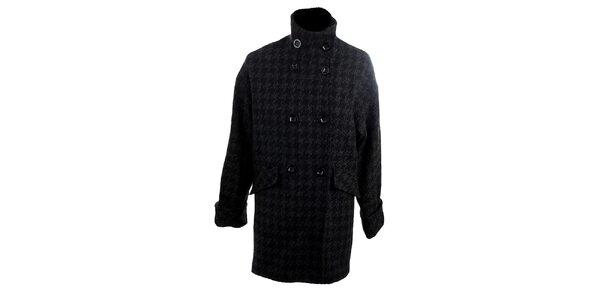 Dámsky šedo-čierny kabát s kohúťou stopou Next