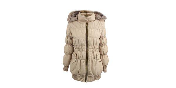 Dámska béžová prešívaná bunda s kožušinou Mezzo