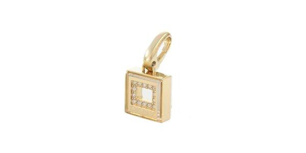 Dámsky zlatý oceľový prívesok so zirkónmi DKNY