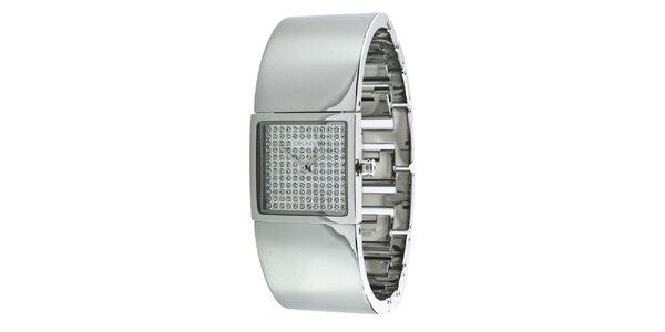 Dámske strieborno tónované náramkové hodinky s kryštáľmi DKNY