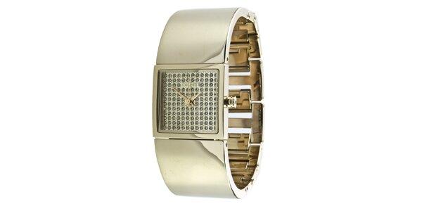 Dámske zlato tónované náramkové hodinky s kryštáľmi DKNY
