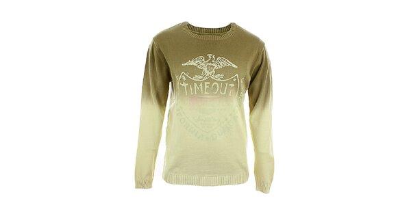 Pánsky hnedo-béžový sveter s potlačou Timeout