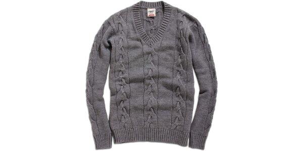 Pánsky šedý sveter Timeout s vrkočovým vzorom