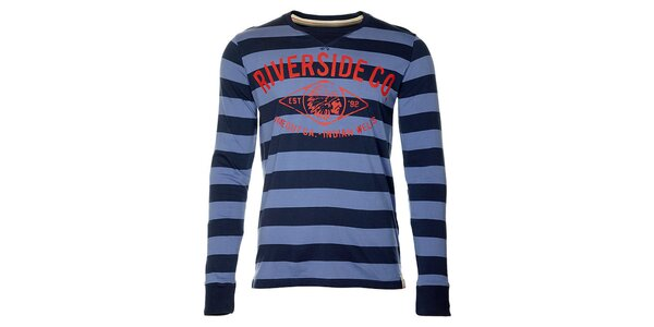Pruhované modré pánské tričko Timeout s dlhým rukávom