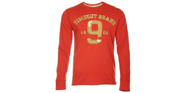 Červené pánské tričko Timeout s dlhým rukávom