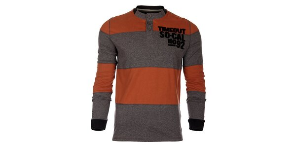 Pruhované oranžovošedé pánské tričko Timeout s dlhým rukávom