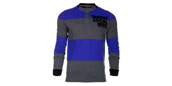 Pruhované šedomodré pánské tričko Timeout s dlhým rukávom