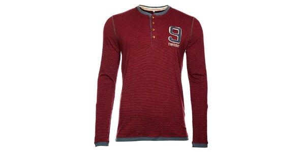 Vínové pánske tričko Timeout s dlhým rukávom