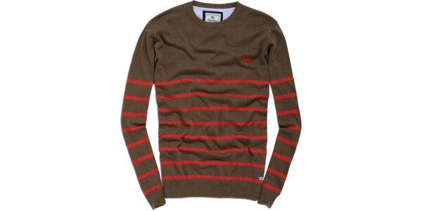 Pánsky hnedo-červený sveter s prúžkom Timeout