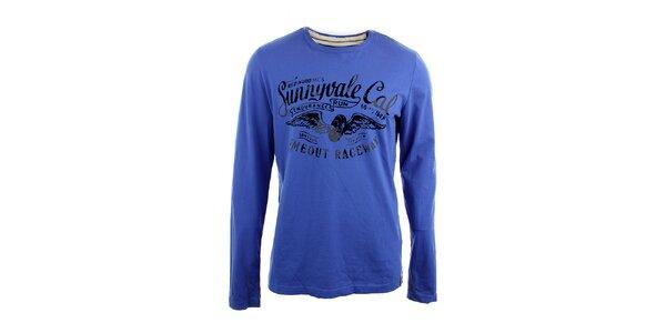 Pánske modré tričko s čiernou vintage potlačou Timeout