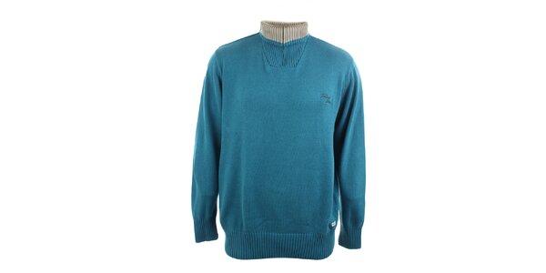 Pánsky zelený sveter s béžovým stojáčikom Timeout