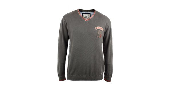 Pánsky šedý sveter s červeným lemom Timeout