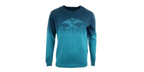 Pánsky tyrkysový sveter s potlačou Timeout