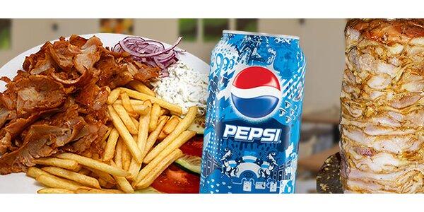 Kurací kebab s prílohou a Pepsi