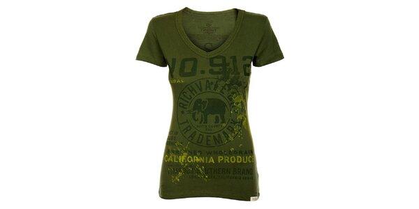 Dámske tmavo zelené tričko Timeout s potlačou