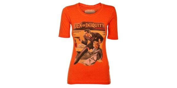 Dámske oranžové tričko Timeout s farebnou potlačou