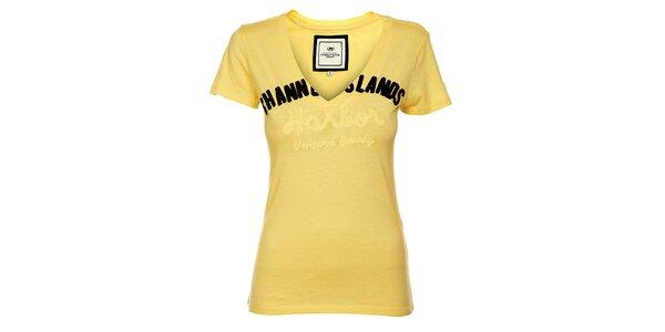 Dámske pastelovo žlté tričko Timeout s výšivkou