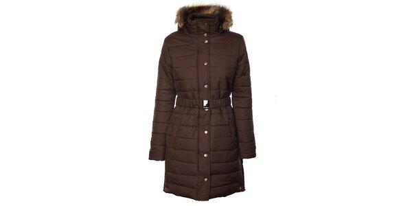 Dámsky tmavo hnedý zimný prešívaný kabát Trimm Loana