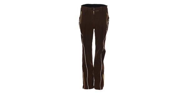 Dámske tmavo hnedé softshellové lyžiarske nohavice Trimm