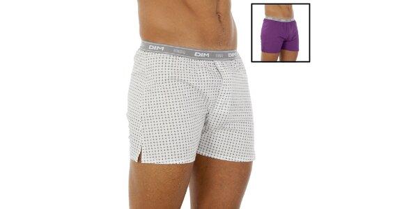 Dvoje boxerky DIM fialové a biele so vzorom