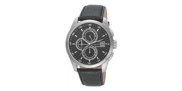 Pánske čierne analogové hodinky s chronografom Esprit