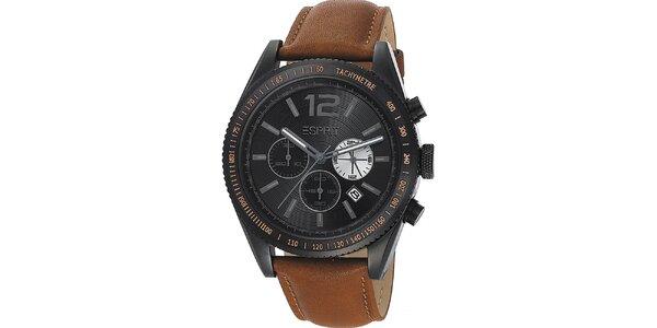 Pánske čierne hodinky s tachometrom a chronografom Esprit