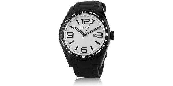 Pánske čierne hodinky s tachometrom a bielym ciferníkom Esprit