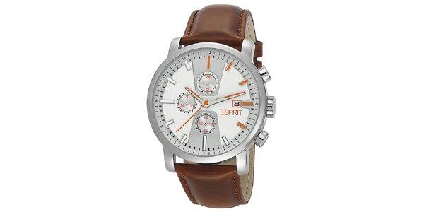 Pánske analogové hodinky s hnedým náramkom Esprit