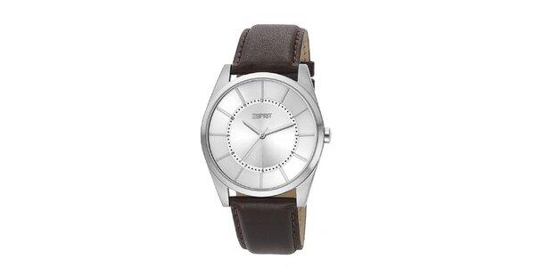 Pánske strieborné analogové hodinky Esprit so strieborným ciferníkom