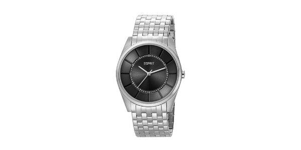 Pánske strieborné analogové hodinky Esprit s čiernym ciferníkom