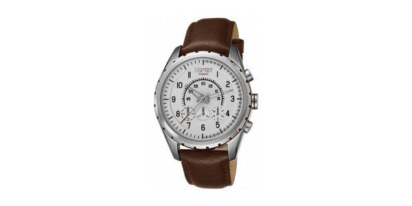 Pánske hnedo-strieborné oceľové hodinky Esprit