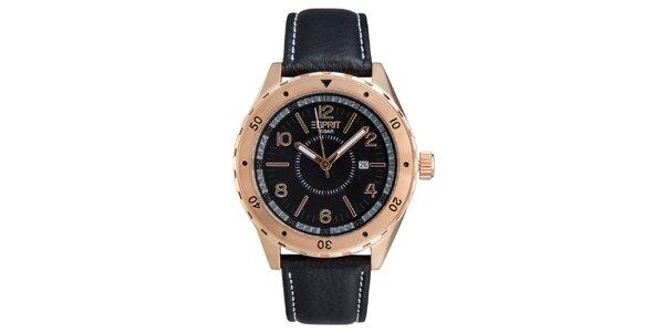 Pánske ružovozlaté hodinky s čiernym remienkom Esprit
