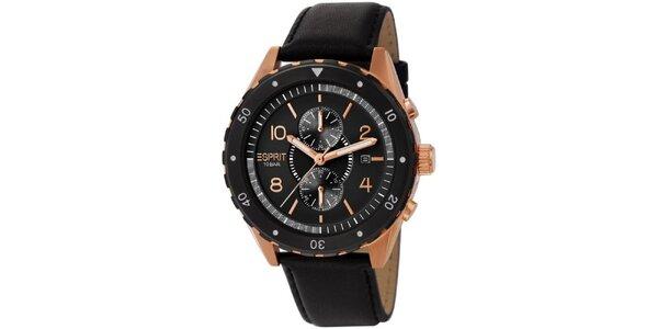 Pánske čierne analogové hodinky s pozlatenými detailmi Esprit
