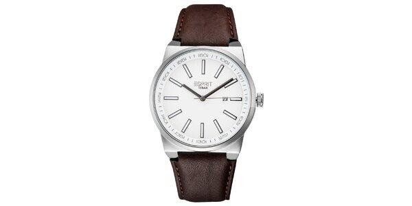 Pánske strieborné hodinky s hnedým remienkom Esprit