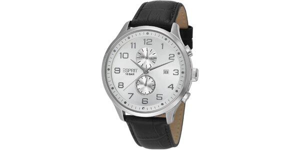 Pánske strieborné hodinky Esprit s chronografom a bielym ciferníkom