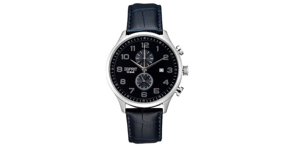 Pánske strieborné hodinky Esprit s chronografom a modrým remienkom