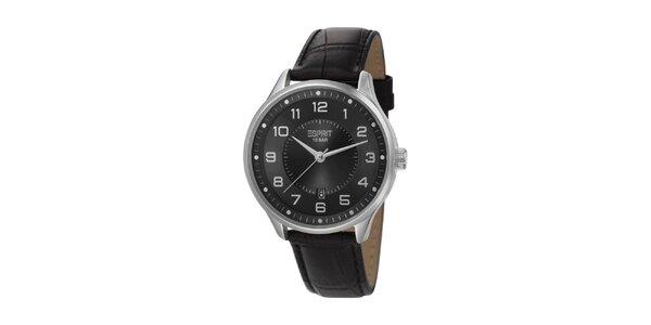 Pánske strieborné hodinky Esprit s koženým remienkom