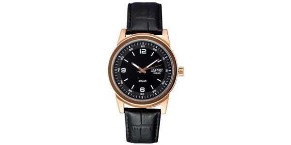 Pánske zlaté oceľové hodinky s koženým remienkom Esprit