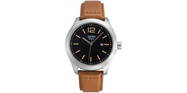 Pánske hodinky s čiernym ciferníkom a hnedým remienkom Esprit