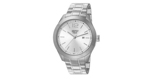 Pánske hodinky so strieborným ciferníkom a remienkom Esprit