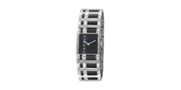 Dámske strieborné oceľové hodinky Esprit s čiernym vykladaním