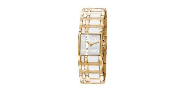 Dámske zlaté hodinky Esprit s bielym vykladaním