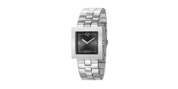 Dámske hodinky Esprit s hranatým antracitovým ciferníkom v striebornej farbe
